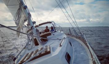 The captain of my heart and me sailing S/V Tortuga ... full-time whenever in Soul Time.
